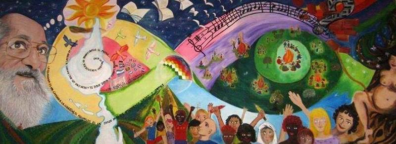 Mural realizado por los participantes al 1er congreso Internacional Paulo Freire, Buenos Aires, 2013
